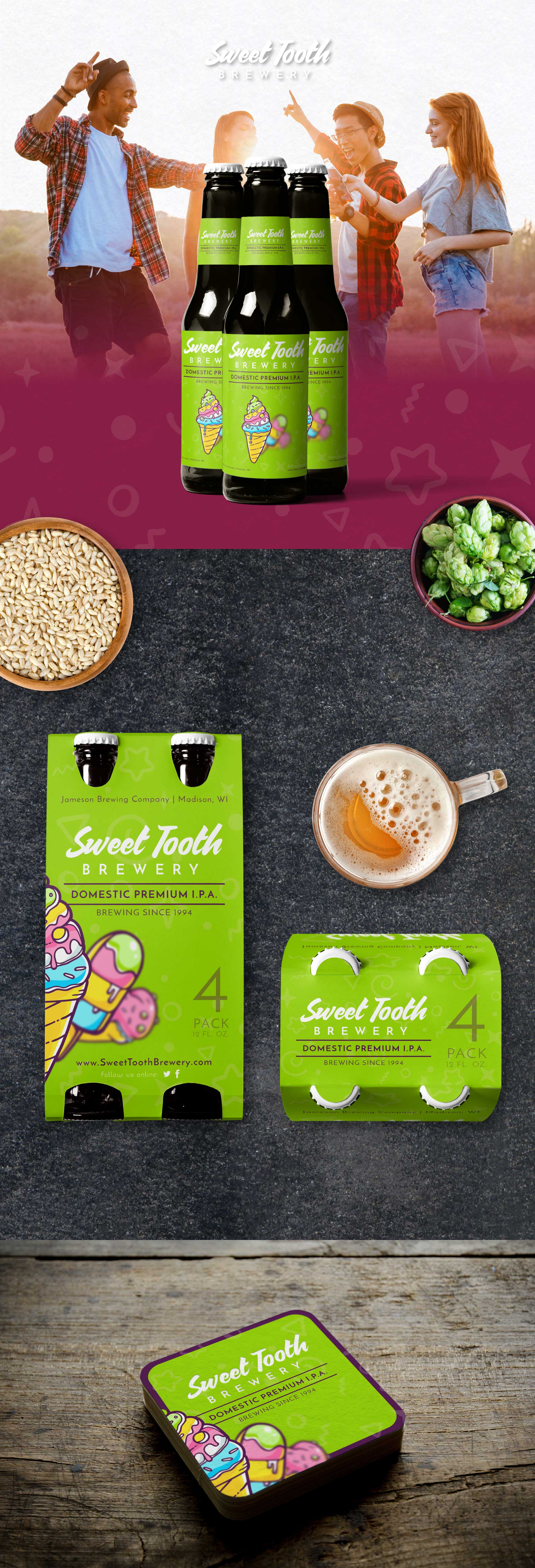 sweet tooth brewery sifono4 branding package design